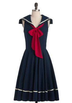 Sea Shanty Singing Dress in Navy - Blue, White, Pleats, Casual, Nautical, A-line, Tie Neck, Long, Red, Party, Sleeveless, Spring, Collared, Fit & Flare, Top Rated  Love this! Really love the navy with the red bow. I could do without the little flap, but could make it as a halter. Also like the white stripe near the hem.