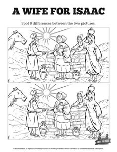 Genesis 24 Isaac And Rebekah Spot The Difference Can Your Kids All Differences Bible CraftsBible ActivitiesAbraham