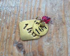 Vintage industrial brass tag trinket. Cool keychain.