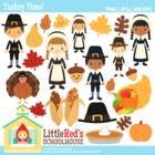 Clip Art: Turkey Time! - Thanksgiving-themed Clipart - LittleRed