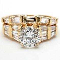 Vintage Engagement Ring Diamond Bridal Set Solid 14K Gold