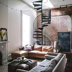 35 Top Guide of Best Interior and Loft Design Ideas in Industrial Style - myhomeorganic Interior Design Living Room Warm, Living Room Modern, Living Room Designs, Spiral Staircase, Staircase Design, Modern Staircase, Staircases, Loft Design, Modern House Design