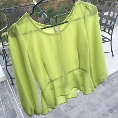 Sheer Peplum (Lime) Worn on one occasion, I believe I purchased from Nasty Gal but it does not have their tag. FITS XS/S- PRICE FIRM Tops Blouses