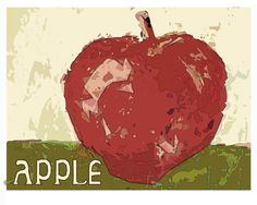 Apple  PRINT of original palette knife painting  by WhiteLyme, $15.00