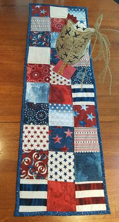 Oh My Stars! Quilted Patriotic Table Runner - Free Shipping!