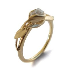 Leaves Engagement Ring 18K Gold and Rough by DoronMeravWeddings