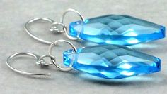 Aquamarine Navette Swarovski Crystal Earrings by DesignedByVal,