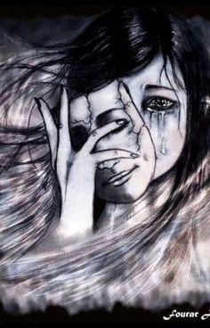 Hasil gambar untuk woman taking off mask of happiness drawing Sad Drawings, Dark Art Drawings, Drawing Sketches, Drawing Ideas, Depression Art, Dark Pictures, Sad Art, Pencil Art, Amazing Art