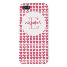 Pink Ombre Hearts and Monogram Case For iPhone 5