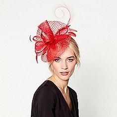 J by Jasper Conran - Red windowpane fascinator headband