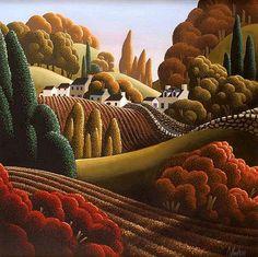 George Callaghan (20th Century) - AUTUMN FIELDS,