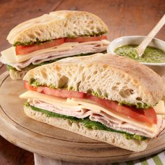 This recipe pairs bright, fresh-tasting pesto with turkey on chewy ciabatta bread, taking your basic turkey sandwich to a whole new level of delicious.
