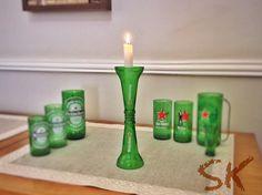 Novidade!! Castiçal de garrafas de Heineken