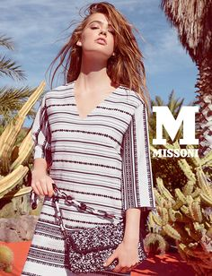 #MMissoni Advertising Campaign | Spring Summer 2015 | Frida Kahlo | Mexico | WHITE & BLACK MEXICAN STRIPE TUNIC