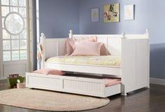 White Semi Gloss Finish Contemporary Trundle Bed