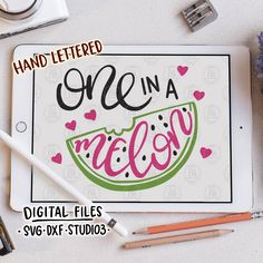 One in a melon, cute fun summer watermelon tropical fruit digital cut files, SVG, DXF, studio3 for cricut silhouette cameo, diy vinyl decals by LoveRiaCharlotte on Etsy