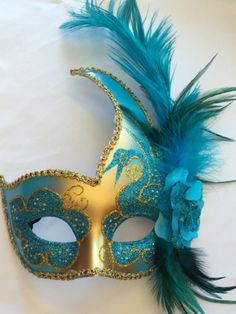 Teal and Gold Vanetian Style Mardi Gras Mask