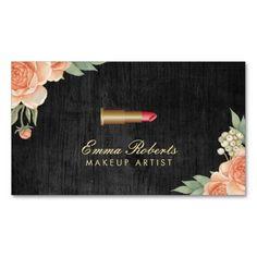 Makeup Artist Vintage Floral Elegant Dark Wood Business Card