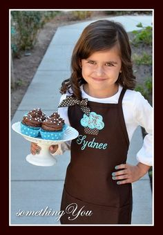 Personalized Girls Cupcake and Name Apron  by SomethingYouAprons, $27.95 Color combo