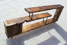 Reclaimed Wood Entertainment Center from UniqueIndustry on Etsy - furniture - entertainment Etsy Furniture, Pipe Furniture, Pallet Furniture, Furniture Projects, Rustic Furniture, Recycled Wood Furniture, Furniture Stores, Cheap Furniture, Wood Entertainment Center