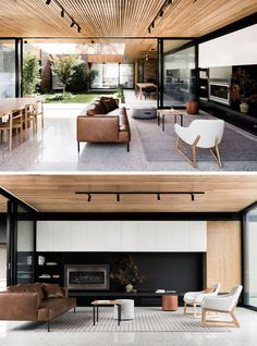 The Courtyard House By FIGR Architecture & Design Inside this modern house, a timber batten ceiling contrasts the white concrete floor, keeping the interiors light and and airy. A black wall in the living helps to define the space in the large open room. Living Room Decor On A Budget, Living Room White, Living Room Modern, Home Living Room, Living Room Designs, Apartment Living, Living Room Japanese Style, Living Spaces, Muebles Living
