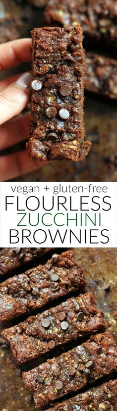 Ooey, gooey, one bowl, 7-ingredient Flourless Vegan Peanut Butter Zucchini Brownies! They're super easy and free of gluten, refined sugar, flour, butter and oil. Kid-friendly!