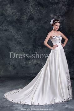 Beautiful Ivory/Black Spring/ Fall Natural A-Line Corset-back Wedding Dresses #wedding #weddinggown #weddingdress #dress #fashion #bigday #womenfashion #womenwear #2015wedding