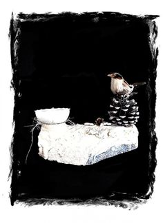 theelichthouder met vogeltje, leuk om cadeau te geven. gemaakt met y-ton