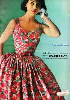 Jo Collins 1958 Everfast brand label color photo print ad model magazine 50s 60s dress floral rose roses full skirt sundress day casual gloves red pink green white