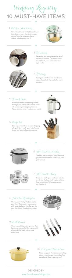 Top 10 must-have items for the kitchen and/or for entertaining that should be included when registering for your wedding gifts.