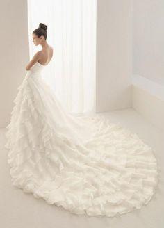 Holy Designer High End Princess Strapless Layered Organza Satin Cathedral Train Wedding Dress (PWD-091)