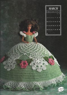 The Antebellum Collection - Annies Calendar Bed Doll - Miss March 1991 - Annie's Attic - Crochet Fashion Bed Doll Gown Pattern