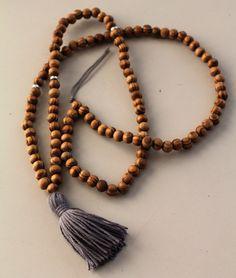 Grey Yoga Necklace Mala Yoga Tassel Necklace Wooden by TTassel