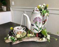 Unique Rustic Home decor and custom Party Centerpieces by Rusticredoo Teapot Centerpiece, Tea Party Centerpieces, Tea Party Decorations, Teapot Crafts, Cup Crafts, Diy And Crafts, Cup And Saucer Crafts, Floating Tea Cup, Tea Cup Art