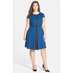 Julia Jordan Houndstooth Jacquard Fit & Flare Dress (Plus Size) Stunning Dresses, Pretty Dresses, Fit Flare Dress, Fit And Flare, Plus Size Dresses, Plus Size Outfits, Inverted Triangle Fashion, Plus Size Workwear, Cobalt Dress