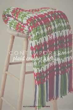 "Woah, the yarn is woven into the crocheted pieces! Love this ""plaid"" style. @yarnspirations"