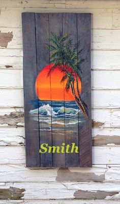 Items similar to Wood Pallet Sign - Ocean Sunset with Palm Tree Painting optional last name on Etsy Wood Pallet Signs, Pallet Art, Wood Pallets, Pallet Painting, Painting On Wood, Beach Crafts, Beach House Decor, Beach Art, Ocean Sunset
