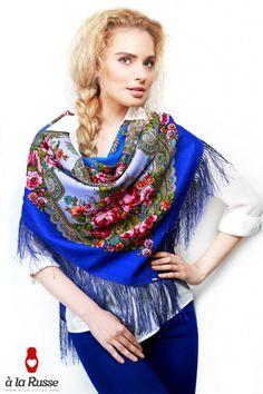 floral Scarf Shawl a la Russe/ Schal a la Russe / Tuch a la Russe / foulard russe / Le châle russe / Etoles a la russe /