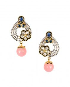 Zircon Embellished Earrings with Baby Pink Bead Drop