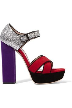 Heel measures approximately 135mm/ 5.5 inches with a 35mm/ 1.5 inches platform Silver glitter, dark-purple, claret and black suede Buckle-fastening ankle strap Made in Italy