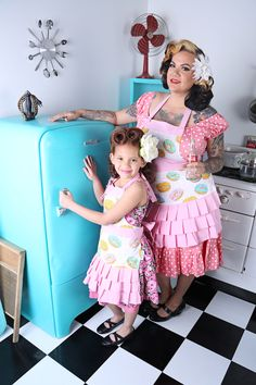 Our Popular Donut Mummy & Me Aprons. Photographed by the Brilliant Retro Team at Jess W Photography in Las Vegas . Retro Apron, Aprons Vintage, Suburban House, Put On, Harajuku, Housewife, Las Vegas, Photography, Popular