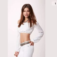 For love & lemons white chi chi long sleeve crop Amazing white chi chi top worn twice! Sold out everywhere! For Love and Lemons Tops Crop Tops
