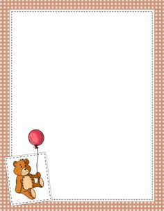 Polka dot border with a teddy bear graphic in the bottom left corner. Banners, Teddy Bear Crafts, Printable Border, Stationary Printable, Printable Labels, Printables, Boarders And Frames, Bear Graphic, Paper Owls