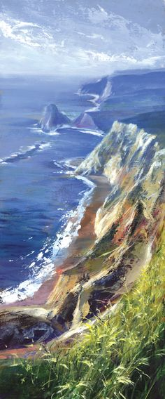 Jurassic Coast - Mixed media painting on board by David Williams - Giclee print available from www.southdownsgallery.co.uk