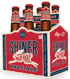 Shiner, Wild Hare, Pale Ale, Beer, Bottles, Carrier, Packaging, Graphic Design, Rabbit, Illustration,