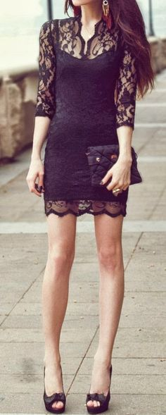 Black Lace Dress. I like the dress, but maybe just a little longer.