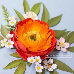 Paper Peonies, Crepe Paper Flowers, Diy Paper, Paper Crafts, Coral Charm Peony, Orange Paper, Paper Flower Tutorial, Flower Center, Flower Template