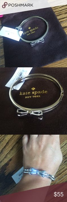 ♠️NWT Kate Spade hinged bow bangle♠️ Brand new with tags...an absolute must!!! Shiny silver 12k plated metal bangle with hinged clasp closure. Gorgeous piece...inside measures 2.25x2. Comes with signature jewelry pouch. From a smoke and pet free home. ❌no trades❌ kate spade Jewelry Bracelets
