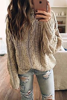 d6bff981cc  fall  outfits women s beige knit sweater Cozy Fall Sweater