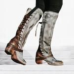 Women Vintage Lace Up Boots European Style Bandage Above Knee Boots - Boots - Heels High Heel Pumps, High Heel Boots, Heeled Boots, Shoe Boots, Calf Boots, Women's Shoes, Tall Lace Up Boots, Wedge Boots, Dress Shoes